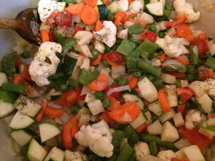 Veggies cut up and ready to go...