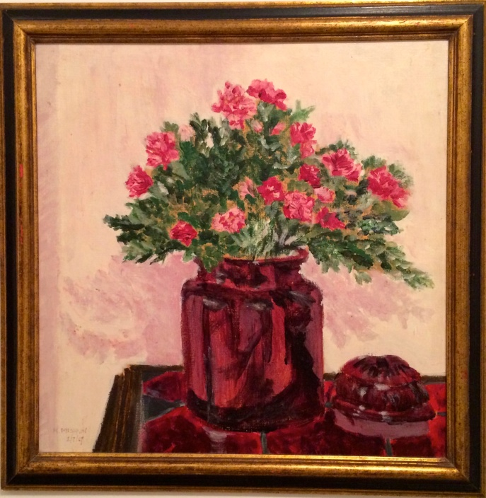 "Pseudo-Nineteenth-Century Maiden Lady Painting ""Vase of Carnations"""