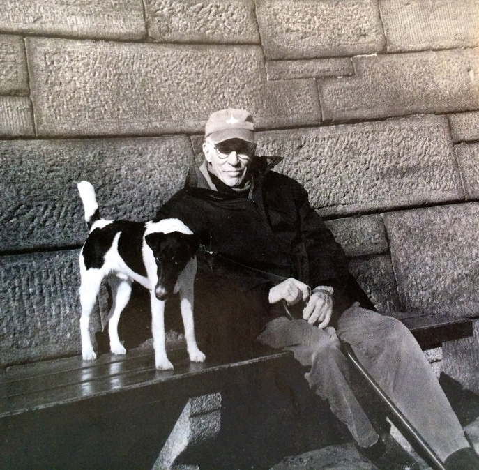 Roger Angell and his dog, Andy,  January 2014. [Photo credit: The New Yorker]