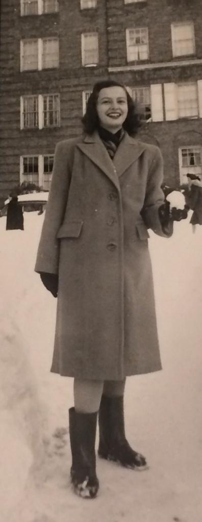 Age 16. Across the street from 41 Kew Gardens Road, Kew Gardens, New York. December 1947.