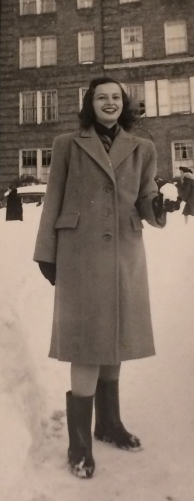 Age 16. Across the street from 41 Kew Gardens Road, Kew Gardens, New York. December 1947.