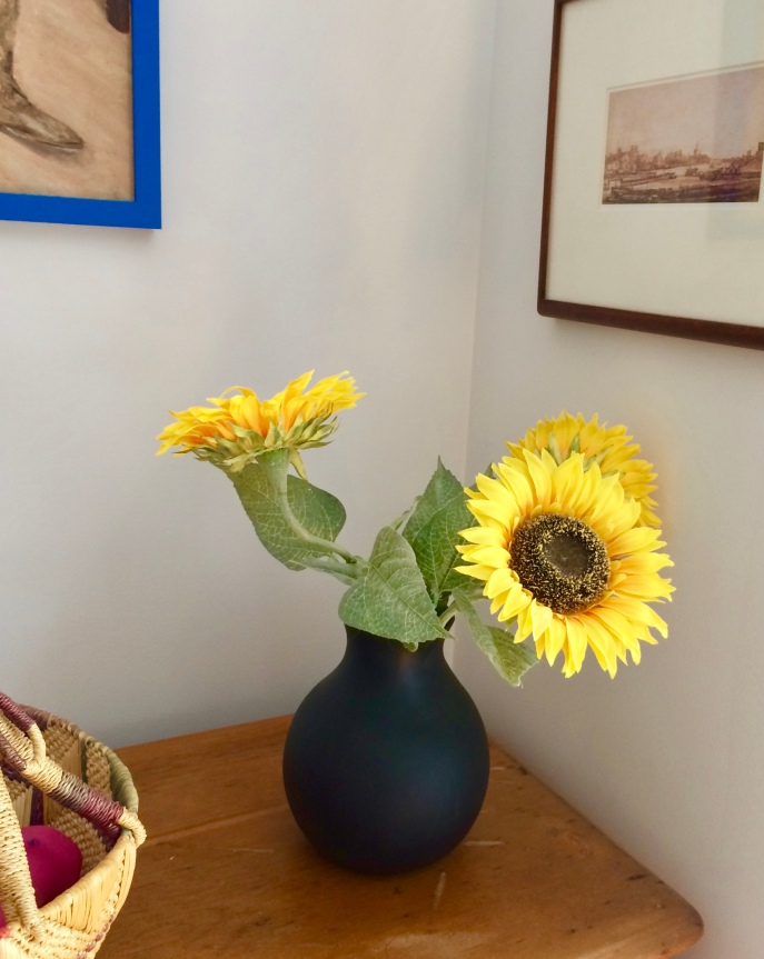 Bill's sunflowers in the Windrows bedroom